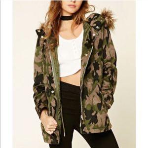Forever 21 Fuzzy Camo Coat